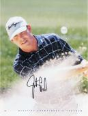 Justin Leonard Autographed 8'' x 10'' Stripped Shirt Swinging In Sand Photograph
