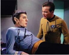 Leonard Nimoy and William Shatner Autographed STAR TREK 8x10 Photo - Mr. Spock and Captain Kirk
