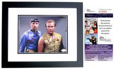 Leonard Nimoy and William Shatner Signed - Autographed STAR TREK 8x10 inch Photo - BLACK CUSTOM FRAME - Mr. Spock and Captain Kirk - JSA Certificate of Authenticity (COA)