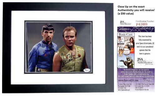 Leonard Nimoy and William Shatner Signed - Autographed STAR TREK 8x10 inch Photo - BLACK CUSTOM FRAME - Mr. Spock and Captain Kirk - JSA Certificate of Authenticity (COA)