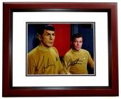 Leonard Nimoy and William Shatner Signed - Autographed STAR TREK 8x10 inch Photo - MAHOGANY CUSTOM FRAME - Guaranteed to pass PSA/DNA or JSA - Mr. Spock and Captain Kirk