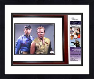 Leonard Nimoy and William Shatner Signed - Autographed STAR TREK 8x10 inch Photo - MAHOGANY CUSTOM FRAME - JSA Certificate of Authenticity (COA) - Mr. Spock and Captain Kirk