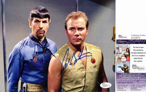 Leonard Nimoy and William Shatner Signed - Autographed STAR TREK 8x10 inch Photo - Mr. Spock and Captain Kirk - JSA Certificate of Authenticity (COA)