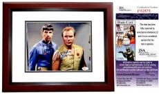Leonard Nimoy and William Shatner Signed - Autographed STAR TREK 8x10 Photo - MAHOGANY CUSTOM FRAME - JSA Certificate of Authenticity - Mr. Spock and Captain Kirk