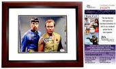 Leonard Nimoy and William Shatner Signed - Autographed STAR TREK 8x10 inch Photo - MAHOGANY CUSTOM FRAME - JSA Certificate of Authenticity - Mr. Spock and Captain Kirk