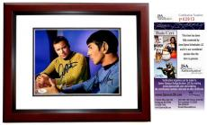 Leonard Nimoy and William Shatner Signed - Autographed STAR TREK 8x10 inch Photo - MAHOGANY CUSTOM FRAME - Guaranteed to pass PSA or JSA - JSA Certificate of Authenticity - Mr. Spock and Captain Kirk