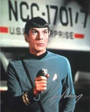 """LEONARD NIMOY as SPOCK in """"STAR TREK"""" Signed 8x10 Color Photo"""