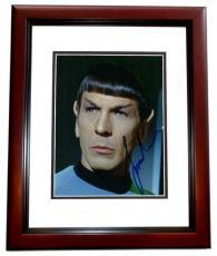 Leonard Nimoy Autographed STAR TREK 8x10 Photo MAHOGANY CUSTOM FRAME - Deceased 2015