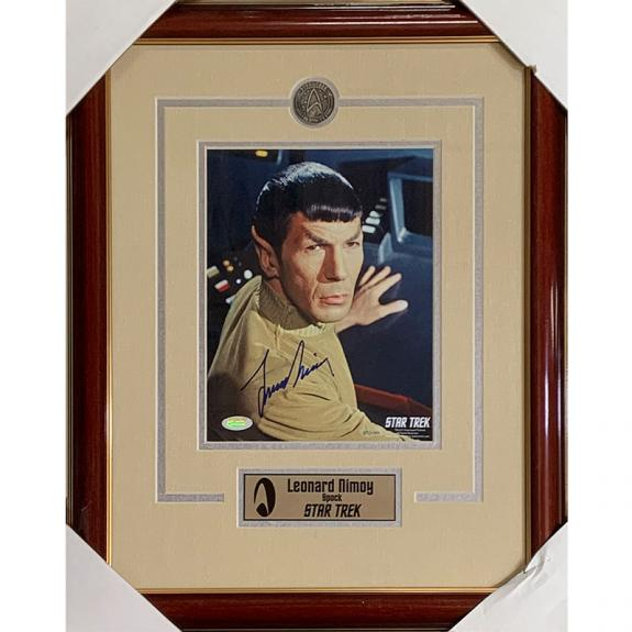 Leonard Nimoy (deceased) Framed Autographed 8X10 Star TrekPhoto