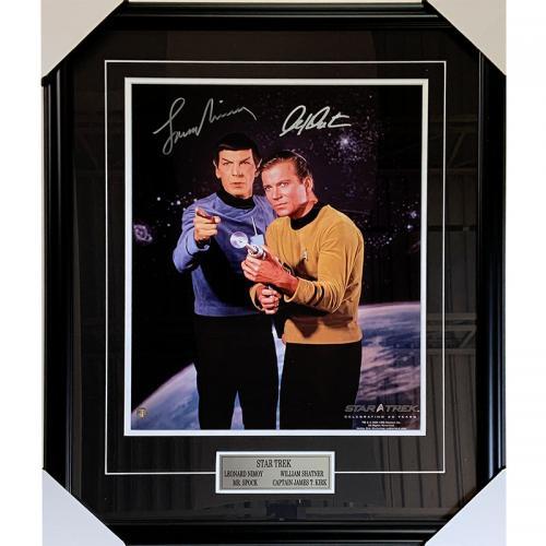 Leonard Nimoy (deceased)/William Shatner Framed Autographed Star Trek 16X20 Photo