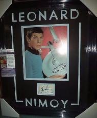 Leonard Nimoy Star Trek Legend Signed Autographed Double Matted Framed Jsa Coa