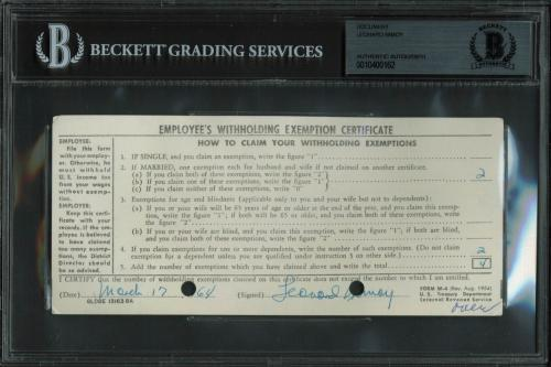 Leonard Nimoy Star Trek Signed 3.25x7.25 Employee Withholding Card BAS Slabbed