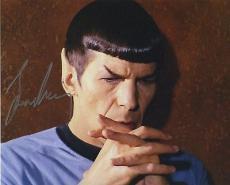 Leonard Nimoy Star Trek Signed Autographed Color Photo Wow!