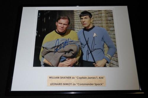 Leonard Nimoy William Shatner Dual Signed Framed 11x14 Photo Display Star Trek