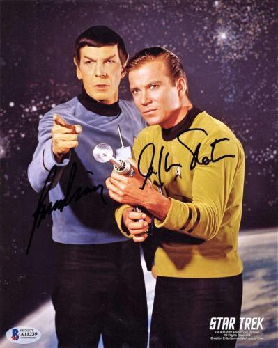 Leonard NiMoy William Shatner Signed 8x10 Star Trek Photograph Beckett BAS