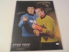 Leonard Nimoy William Shatner Star Trek Signed Autographed 16x20 Photo JSA COA