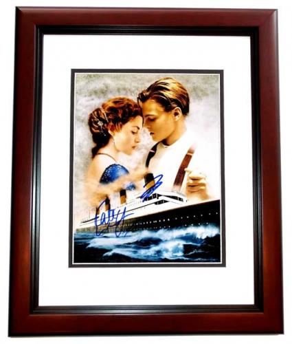 Leonardo DiCaprio and Kate Winslet Signed - Autographed TITANIC 11x14 inch Photo - MAHOGANY CUSTOM FRAME - Guaranteed to pass PSA or JSA