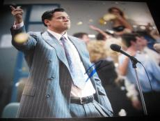 LEONARDO DICAPRIO SIGNED AUTOGRAPH 11x14 PHOTO WOLF OF WALL STREET ACTION SHOT D