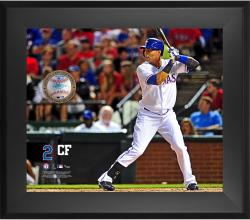 "Leonys Martin Texas Rangers Framed 20"" x 24"" Gamebreaker Photograph with Game-Used Ball"