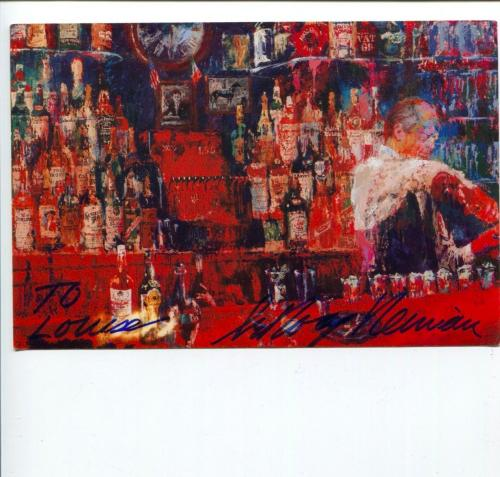 Leroy Neiman Irish American Bar Sports Artist Signed Autograph Post Card Photo
