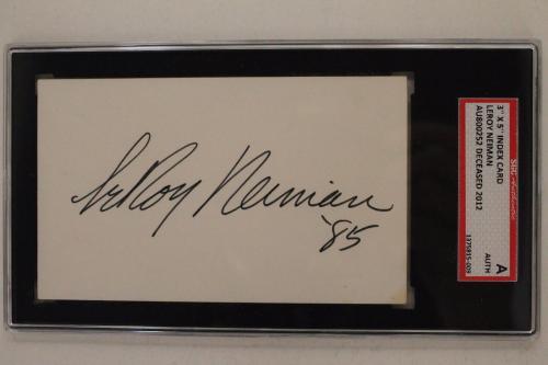 LeROY NEIMAN (d.2012) Artist Expressionist Autograph 3x5 Card Slabbed SGC RARE