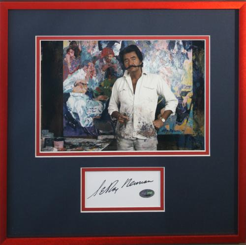 LEROY NEIMAN d.2012 (Artist) signed/framed photo display-PSA Authenticated