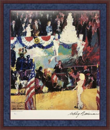 "LEROY NEIMAN d.2012 signed/framed ""The Presidents Birthday"" print -JSA COA"