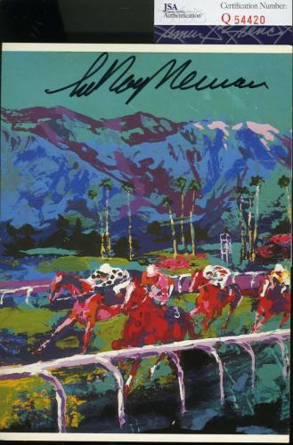 Leroy Neiman Jsa Coa Authentic Hand Signed 5x7 Horse Racing Photo Autograph