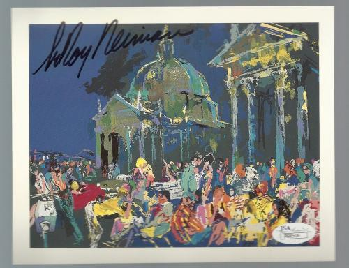 LeRoy Neiman PIAZZA DEL AUTO AUTOGRAPH SIGNATURE SIGNED POST CARD JSA CERTIFIED