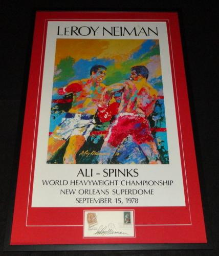 Leroy Neiman Signed Framed 26x41 Ali Spinks Lithograph Display JSA