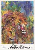 "LEROY NEIMAN SIGNED ""LIONS"" 7x10 HAMMER GALLERIES PRINT NEIMAN ON SAFARI w/ JSA"