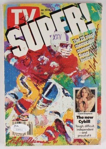 Leroy Neiman Signed Vintage 1991 Tv Guide Super Bowl 25 Most Memorable Moments