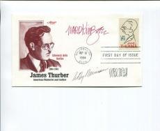 Leroy Neiman+hirschfeld+ward Kimball Hand Signed James Thurber Fdc   Rare    Jsa