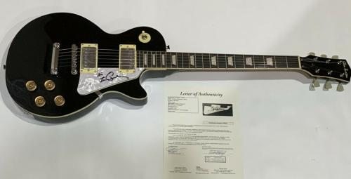 Les Paul Signed Black Electric Guitar Autographed Jsa Letter Of Authenticity