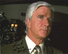 Leslie Nielsen Airplane Autographed Signed 8x10 Photo Authentic AFTAL COA