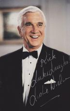Leslie Nielsen Autographed 3x5 inch Photo with Rick, Luck and Laughs