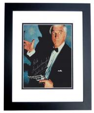 Leslie Nielsen Autographed 8x10 Photo BLACK CUSTOM FRAME with Rick, Luck and Laughs