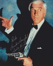 Leslie Nielsen Autographed 8x10 Photo with Rick, Luck and Laughs