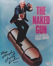 Leslie Nielsen Autographed THE NAKED GUN 8x10 Photo with Keep Laughin Inscription - Deceased 2010