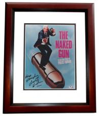 Leslie Nielsen Autographed THE NAKED GUN 8x10 Photo with Keep Laughin Inscription MAHOGANY CUSTOM FRAME - Deceased 2010