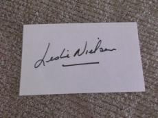 Leslie Nielsen Signed 3 X 5 Index Card *genuine* Autograph *in-person* Coa