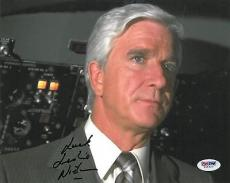Leslie Nielsen Signed Airplane Authentic Autographed 8x10 Photo PSA/DNA #V69927