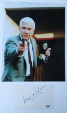 Leslie Nielsen Signed Authentic 3x5 Index Card w/ 8x10 Photo (PSA/DNA)