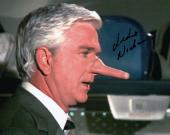 Leslie Nielsen Signed Autographed 8X10 Photo Airplane! Growing Nose w/COA