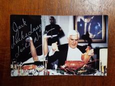Leslie Nielsen-signed postcard-JSA-(pose 3)
