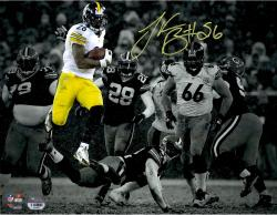 "Le'Veon Bell Pittsburgh Steelers Autographed 11"" x 14"" Spotlight Rushing vs Green Bay Packers Photograph"