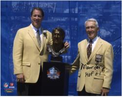 """Buffalo Bills Marv Levy Autographed 8"""" x 10"""" with Jim Kelly Photograph with """"Hall Of Fame 01"""" Inscription"""