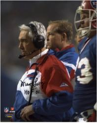 Marv Levy Buffalo Bills Autographed 8'' x 10'' with Headset Photograph with HOF 01 Inscription - Mounted Memories