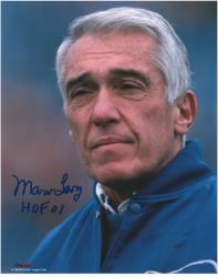 Marv Levy Buffalo Bills Autographed 8'' x 10'' Coaching Photograph with HOF 01 Inscription - Mounted Memories
