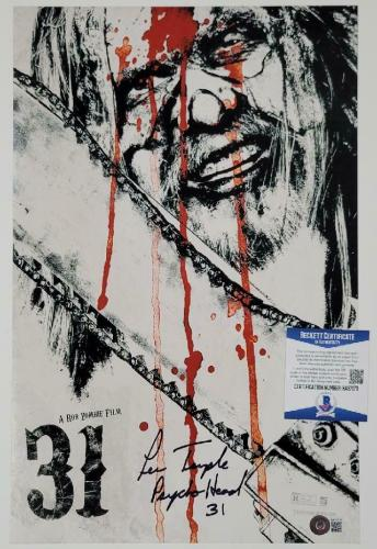"""Lew Temple signed """"Psycho Head 31"""" 11x17 Movie Poster Photo A ~ Beckett BAS COA"""